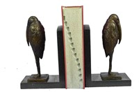 SALVADOR DALI PELICAN BIRD BRONZE BOOKENDS