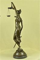 MAYER'S LADY JUSTICE BRONZE SCULPTURE