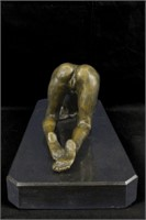 PREISS'S ART DECO NUDE EROTIC STATUE ON MARBLE