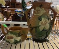 """Roseville Tan Dogwood Vase 7.5"""" And Creamer"""