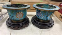 Small Cloisonne Planters On Stands