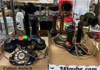 3 Candle Stick Phones, 2 Rotary Style Phones,