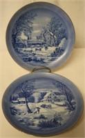 2pc set of Blue White Winter Scene plates