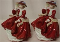 """2pc Royal Doulton """"Top of Hill"""" Figurines"""