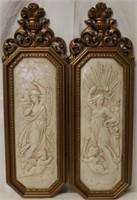 Pair Vintage Angelic Wall Hangings