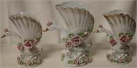 3pc Swan vases