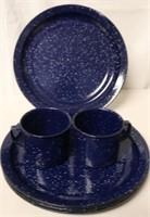 6pc set of Blue Enamelware