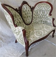 Victorian Upholstered Settee signed