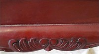 Upholstered Stool with burgundy stripes