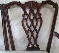Upholstered cream carved settee