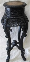 Marble top black carved plant stand