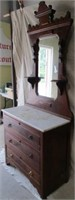 Marble top chest with mirror