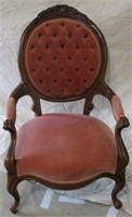 Pink upholstered arm chair