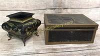 Tole Style Planter, Tin Money Box