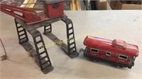 Gulf Diesel Pump Sign, Toy Train Car, Loader