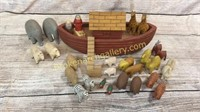 Hand Carved Folk Art Noah's Ark