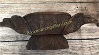 Carved Wood Ale Bowl, Inlaid Elephant