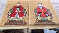2 Hand Painted Asian Scrolls