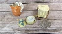 Biscuit Box, Lemon Reamer, Cat Pitcher, Frog