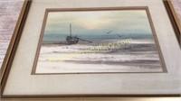 Watercolor of Boat at Shoreline