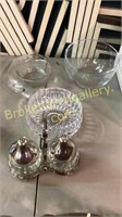Crystal Bowl, Blown Glass, Condiment Stand