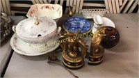 Assorted China, Porcelain, Desk Items