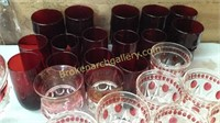 42 Pieces Ruby and Ruby Flash Glass Wear