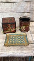 Bento Box, Tole Style Can, Syroco Style Tray