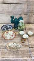 9 Pieces Asian Porcelain, Glazed Camel