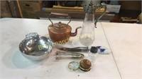 Copper Tea Kettle, Plated Carafe, Carving Set