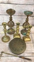 Brass Candlesticks, Brass Cover, Lighter