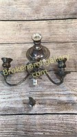 Pair English Silver Plate on Copper Candelabra