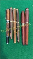 6 Wood Grain or Similar Cased Pens