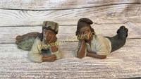 2 Terracotta Reclining Figures