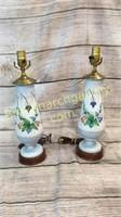 Pair Hand Painted Porcelain Urn Lamps