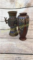 2 Champleve Vases