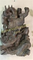 2 Asian Iron Wood Carvings