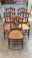 5 Walnut Cane Seat Dining Chairs