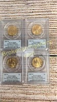 First Day Issue Presidential Gold plated $1 Coins