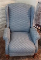 Light Blue Wing Back Reclining Chair # 1