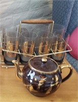 Glass Cups In Carrier, Tea Pot