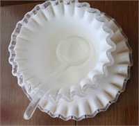 Rippled Edge White Bowl W/ Plate And Spoon