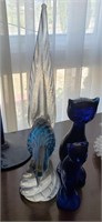 Blue Glass Animal Decor, Cats, Bird
