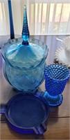 Blue Glass Candy Dish, Ash Tray, Vase