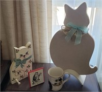 Cat Decor, Wood Cat Hook, Cat Mug, Etc
