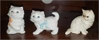 3 Pc White  Homco Kitty Decor