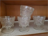 Vintage Glass Sherbert Cups, Footed