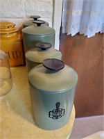 Vintage Green Metal Canisters