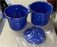 Blue Stoneware Steamer pot.