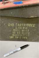 Ammo can with spiral shank nails